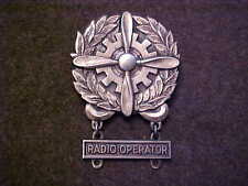 RARE ALL STERLING WW2 US ARMY AIR CORPS BADGE WITH STERLING RADIO OPERATOR BAR