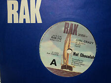 "Hot Chocolate ""Girl Crazy"" 80s Hit Oz 7"""