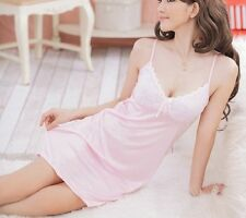 Women Sexy Satin Lace Babydoll Nightgown Sleepwear Lingerie