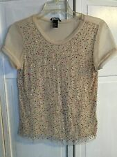H&M Semi-Sheer Ivory Short Sleeve Top/Shirt W/Multicolor Sequins Size Small