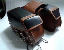 Brown Universal Motorcycle Leather Rider Studded Motorbike Saddle bag MP012