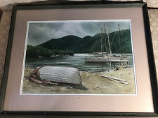 """Robert Manton Chace (1920-2006) """"Moored Fishing Boats Scene"""" Watercolor - Framed"""