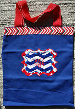 Personalized Embroidered Navy Canvas Tote Bag with Red and Blue Chevron Stripes