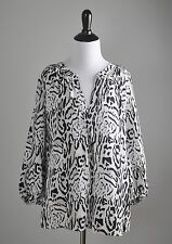 JOIE $168 100% Silk Leopard Print Elastic Sleeve Airy Blouse Top Size Large