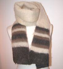 """VINTAGE fuzzy cream/browns stripe 100% wool SCARF  13 1/2"""" X 44"""""""