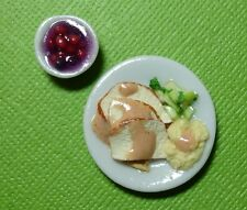 Dollhouse Miniature Turkey Dinner with Cranberries Doll House Food