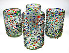 Mexican Glass, confetti with color pebbles, hand blown, 15 oz, set of 4