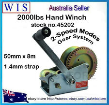 2000lb Hand Winch 2-Speed 8m Strap HD Boat Trailer Auto Marine 4WD Towing-45202