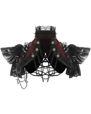 RQBL Toxica Shrug Bolero Red Black Faux Leather Goth Punk Spike Chain Jacket Top