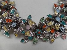 GORGEOUS PASTEL CRYSTAL FLORAL STATEMENT NECKLACE! NEW!