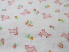 "VINTAGE flannel fabric 36"" wide baby juvenile white w/ pink lamb BTHY half yard"