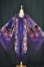 Art to Purple Color Flower Silk Burnout Velvet Fringe Kimono Opera Coat Duster