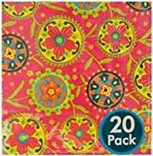 Modern Designs Motif Horizon Floral Garden Party Paper Beverage Napkins - Red