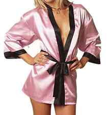 Choice of 4 Colours Satin Supersoft Kimono Dressing Gown Bath Robe & G-String