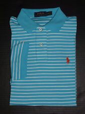 Polo Ralph Lauren Men's Liquid  Blue Striped 100% Cotton Polo/T-Shirt Size: S