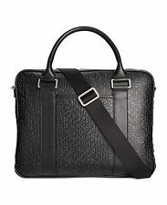$525 Calvin Klein Men Slim Brief Laptop LEATHER BRIEFCASE ATTACHE WORK BAG BLACK