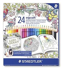 Staedtler 24 Ergo Soft - Triangular Coloured Pencils - Johanna Basford Edition