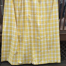 """2 Yellow Blue Plaid Lined Drapes 72"""" Wide X 103"""" Long Custom Made"""