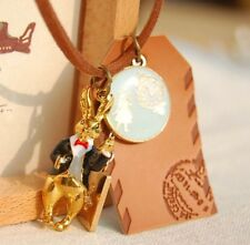Lovely Alice In Wonderland Rabbit Cards Leather long pendants necklaces