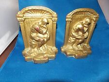 Vintage THE THINKER CAST IRON BOOKENDS - GOLD PAINTED