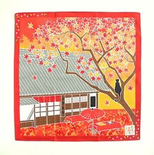 Maple Leaves with Cat Japanese Cotton Furoshiki Wrapping Cloth TB74