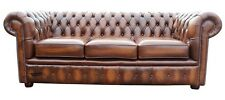 Brand New Chesterfield 3 Seater Sofa Settee Couch Antique Tan Real Leather
