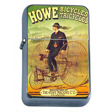 Silver Flip Top Oil Lighter Vintage Poster D150 Howe Bicycles Tricycles Machine