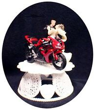 Wedding Cake Topper w/ RED Honda Crotch Rocket Motorcycle Bike racing top Dance