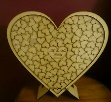 Personalised mdf medium wooden heart dropbox guestbook wedding party 165 & sign