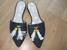 BODEN NAVY POINTED TOE  FLAT TASSLE DENIM SLIP ON SIZE 39==6 BNWOB