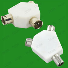 Coaxial 2 Way Aerial Cable Y Splitter for TV/FM, Game, Male to 2x Female, Coax
