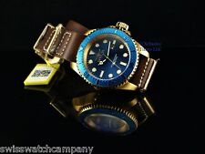 Invicta Men Army Hydromax Blue Dial Brown Army Nato Leather Strap18KGIP SS Watch