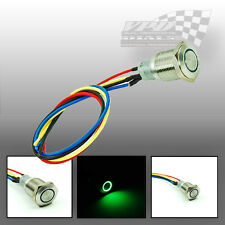 A 12V LED VERDE ON-OFF in Acciaio Inox Push Button Switch Luce motore ad accensione spontanea