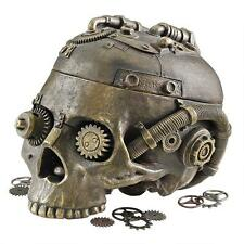 Industrial Steampunk Human Skull Vessel Contemporary Modern Sculpture
