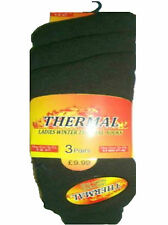 Ladies Winter Super Warm Thick Thermal Socks 3 Pairs Black Size 4-7