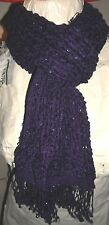 ATMOSPHERE - PURPLE/SILVER OPEN WEAVE TASSLED SCARF SIZE 80X15 INCHES