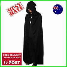 Adult Man lady Halloween black hood Cape Cloak Vampire Witch Fancy Costume 140cm