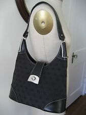 DOONEY & BOURKE Black Signature Jacquard and Leather Hobo Shoulder Bag