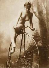 ANTIQUE FRENCH BIG WHEEL BIKE NUDE WOMAN VINTAGE BICYCLE c1900 CLASSIC PHOTO