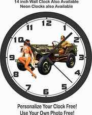 MILITARY JEEP PINUP GIRL WALL CLOCK-VIETNAM, WORLD WAR II, KOREA