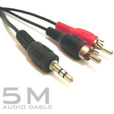 5M Metre 3.5mm Stereo Audio Jack to 2x Twin Male RCA Phono Plugs Cable Lead ipod