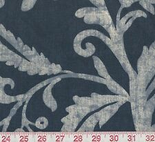 "34"" Microfibres Fielding Indigo Blue Batik Jacobean Floral Home Decor Fabric"
