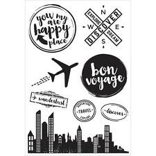 TRAVEL JUST LANDED 8 Clear Unmounted Rubber Stamps Kaisercraft CS265 NEW