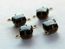 VINTAGE JET BLACK OPAQUE GLASS SQUARE CONNECTOR BEADS BRASS SETTING 7mm
