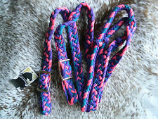 Knotted Nylon Flat Braided Western Roping Rein TEAL PINK & PURPLE Horse Tack