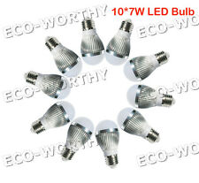 10*7W 70W E27 Cool White DC12V LED Bulb Lamp Save Energy for Camping Solar Light