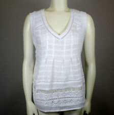 Anthropologie Maeve White Ladder Lace Sleeveless Semi Sheer Top Sz 0