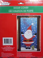 "New Christmas House Plastic Door Cover  30"" x 60"" Decoration Brand ~ Santa"