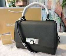 NWT Michael Kors $268 CALLIE Small Saffiano Leather Messenger Satchel bag BLACK
