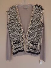 NWT Lanvin Size 42 10 Brown Black & Ivory Fantasy Tweed Cardigan Sweater New